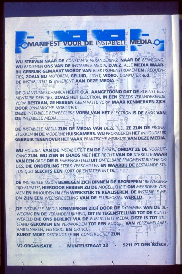 Manifest voor de instabiele media, V2_, 1987.
